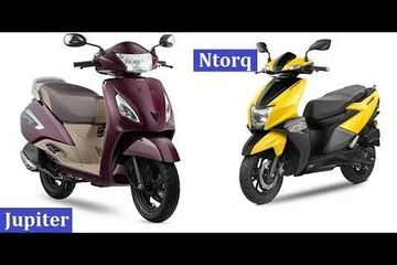 Tvs Jupiter 109cc with 40 to 50/litre mileage Tvs Ntorq 125cc with 40 to 45km/litre mileage Fuel tan