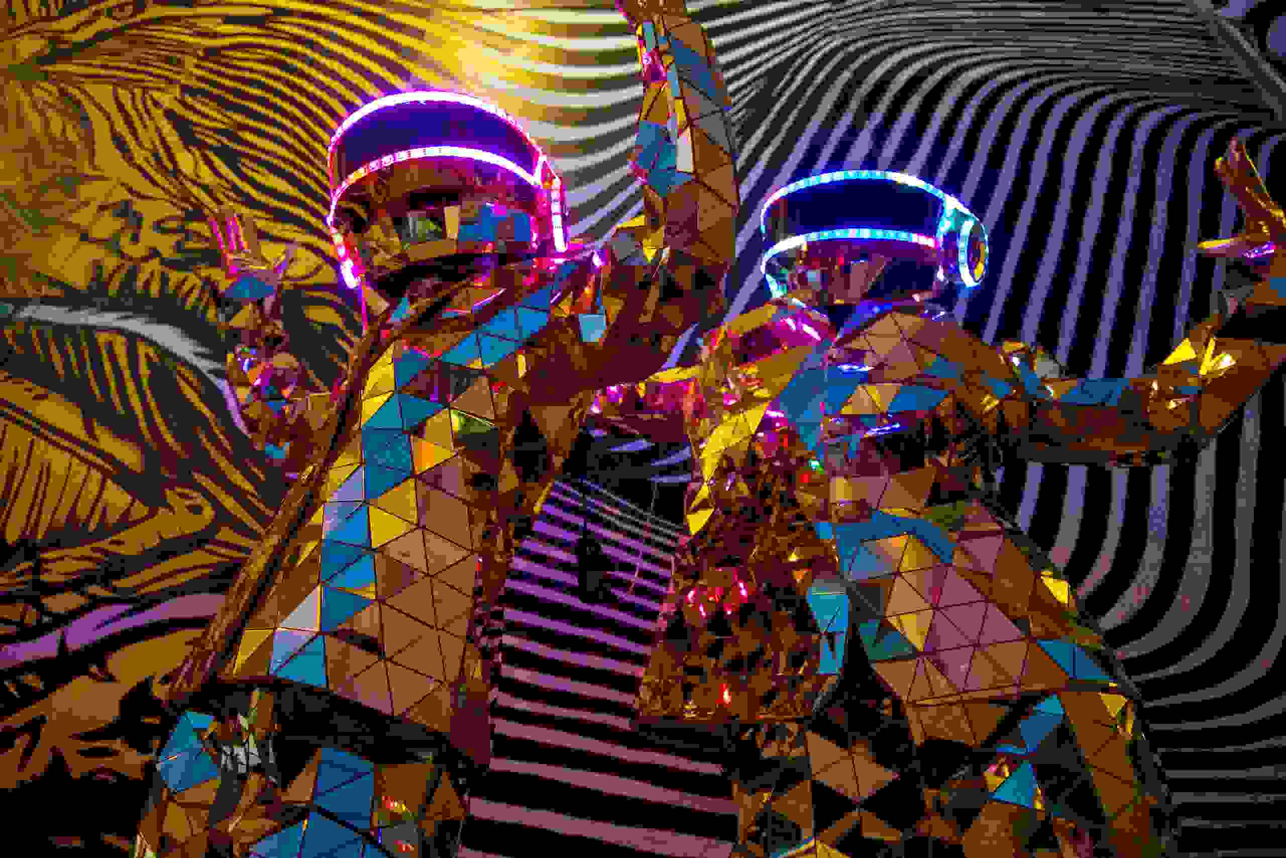 Mirrors and Led Costume Dancers