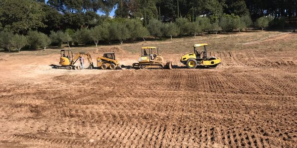 Equipment line up on a grading project.