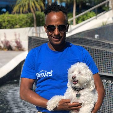 Posing with Charlie during a pet sitting weekend in Marina Del Rey.