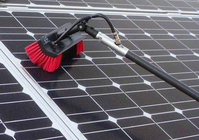 Water Fed pole cleaning process used by Next Level Janitorial Service. Window & Solar Panel Cleaning