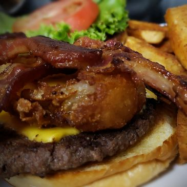 "Front 9 Burger! Come on In and try our Steak Burger. The ""Front 9 Burger"" comes with Bacon, Onion Ring, Lettuce, Cheese and Tomato! Mmmm Mmmm Mmmm"