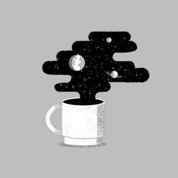 metaphysical meanders, galaxy and stars in a coffee cup.