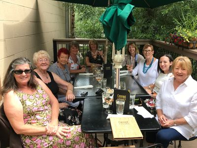 The Commonwealth Rose Chapter enjoying lunch in Evergreen, CO.