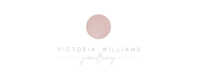 Victoria Williams Jewellery logo with outline of hydrangea skeleton petal.