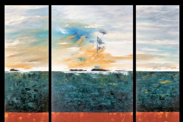 Tryptic. Oil on Canvas. Ocean scene. Abstract. Expressionism.