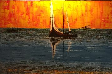Oil on Canvas, Painting, Heavy imposto, sailboats, Very colorful work.