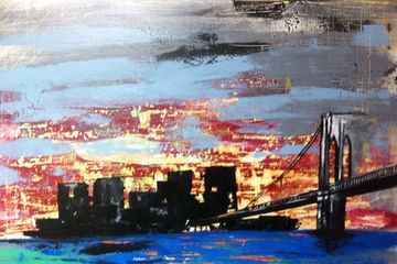 Painting. Expressionism, Brooklyn Sunrise. Mixed Medium, City scapes, New York paintings