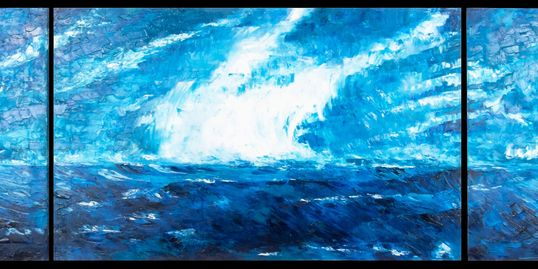 "This is a wonderful Tryptic entitled ""Tempest II"".   Oil on Canvas 61""x28"" Avaiable @ $3400.00"