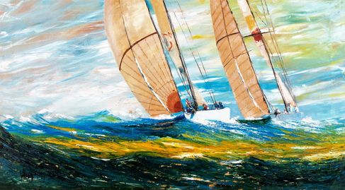 sailing yachts racing on the open sea. Palette knife. Oil painting