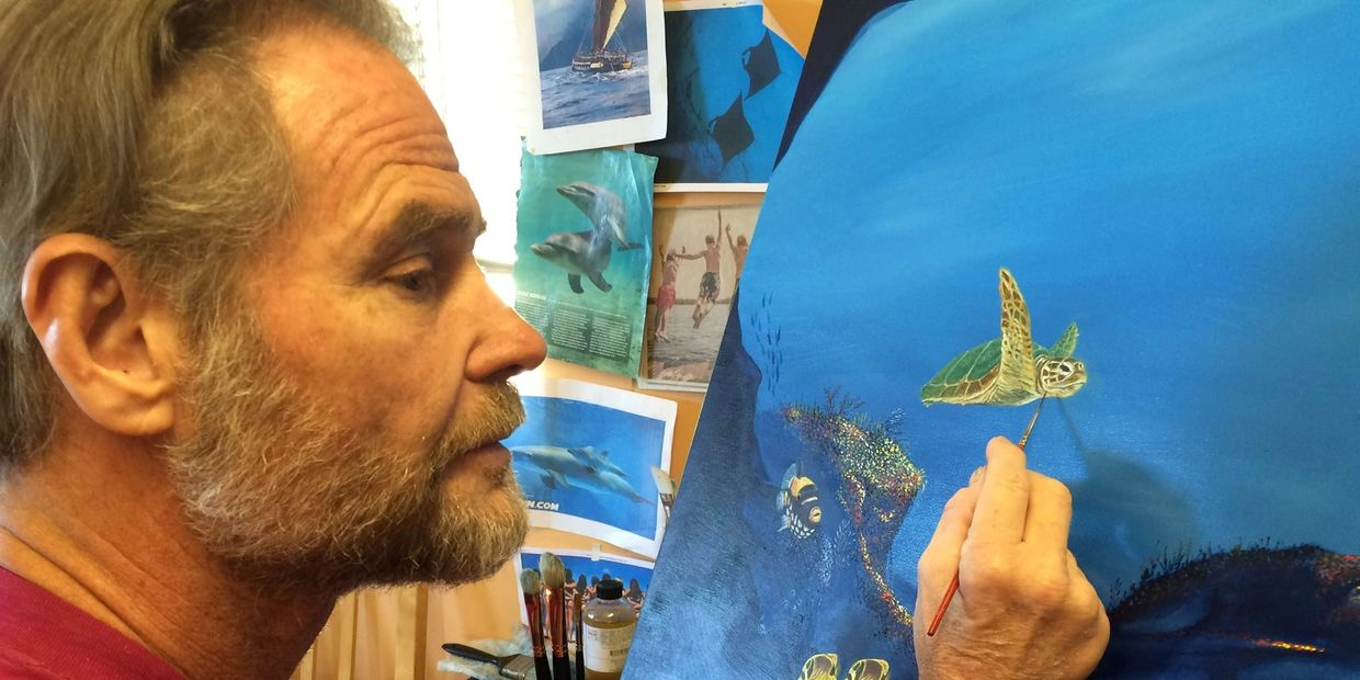Artist. painting. Turtles, and various sea life