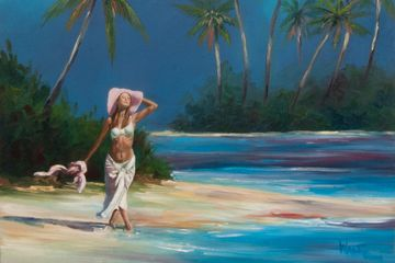 Ocean art, beach life, paradise, oil paintings, painting of women, Beach art