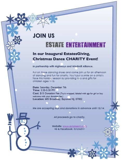 Estate Entertainment Christmas Toy Drive Charity Dance Party.