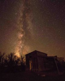 Milky Way back drop to abandon cabin