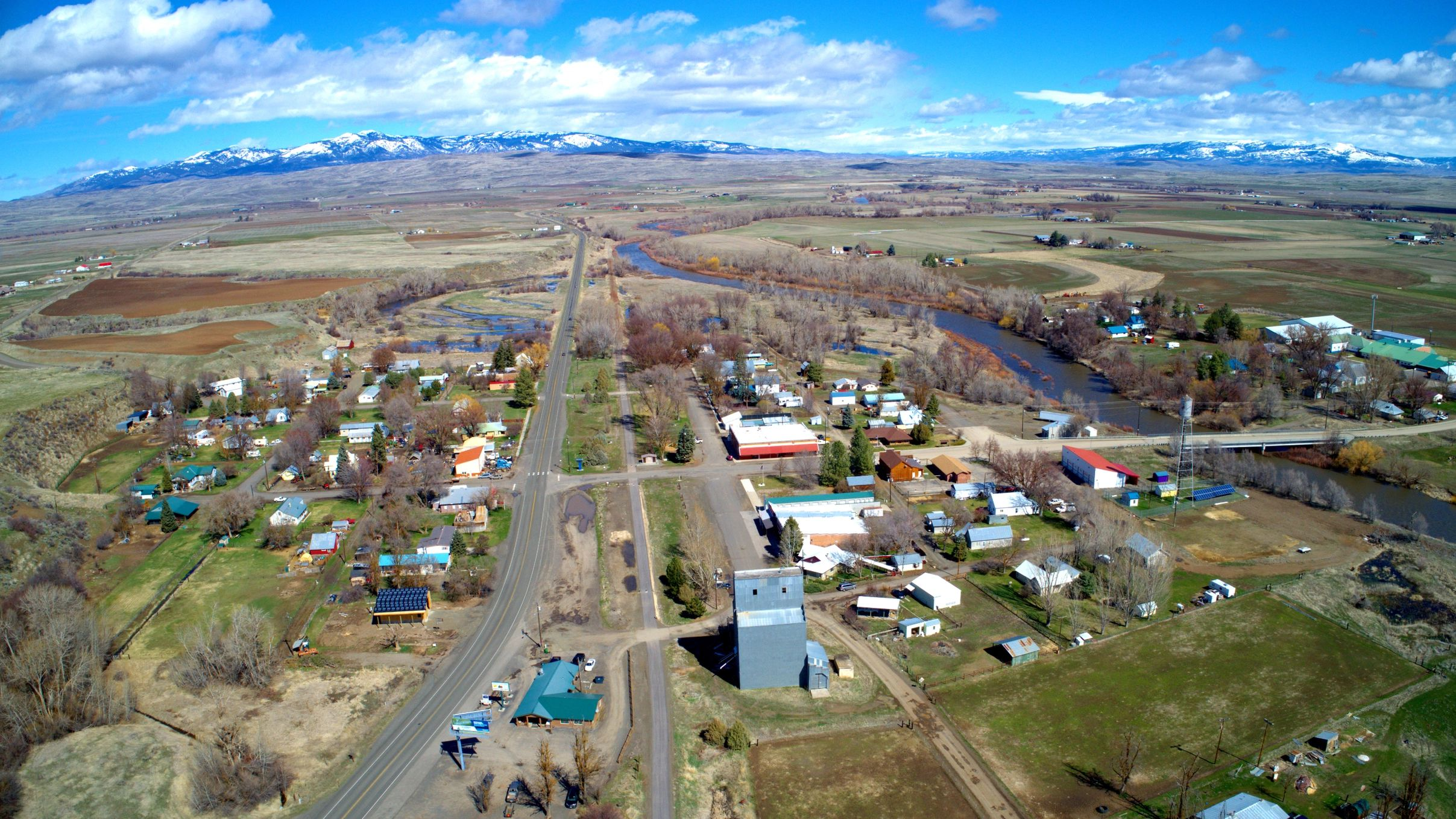 An aerial view of Midvale Idaho