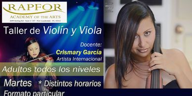 Violin, Viola and Cello lessons by Crismary Garcia for all ages and Styles in Fort Lauderdale at Humfor Energy of the Arts in Hollywood.