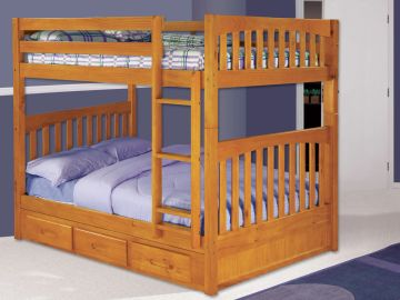 Full over Full Bunkbed with Underbed Storage in Honey Finish