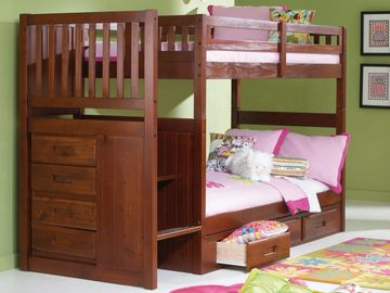 Twin over Twin Staircase Bunkbed in Merlot Finish