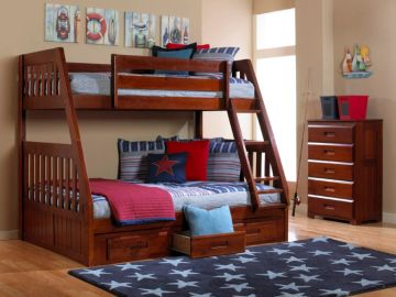 Twin over Full Bunkbed with Underbed Storage in Merlot Finish