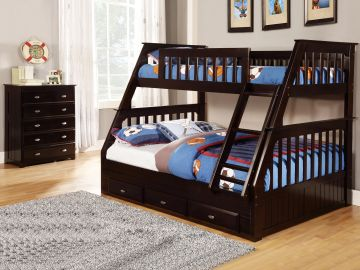 Twin over Full Bunkbed with Underbed Storage in Espresso Finish