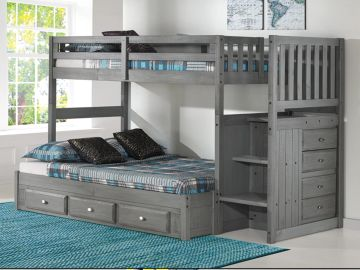 Twin over Full Staircase Bunkbed with Underbed Storage in Charcoal Finish