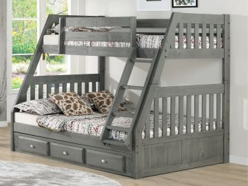 Twin over Full Bunkbed with Underbed Storage in Charcoal Finish