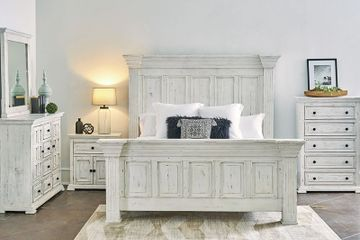 Coastal distressed white solid wood bedroom set