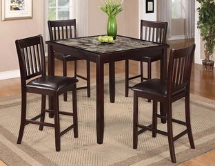 5 Piece Dining Room Set Counter Height Faux Marble Top
