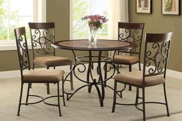 5 Piece Dining Set Marble Top Round Table and 4 Chairs