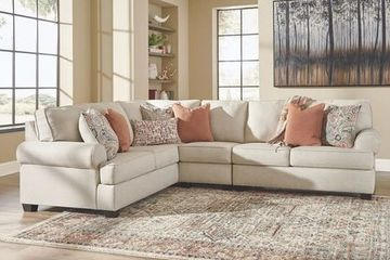 Living Room Modular Sectional with Throw Pillows. Orientation and configuration customizable.