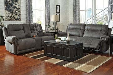 Reclining Living Room Sofa and Loveseat with Coffee Table and End Table.