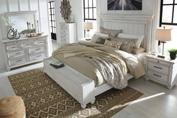 Distressed White Bedroom Set with Footboard Storage