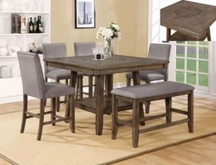 Counter Height Dining Table, 4 Counter Height Upholstered Chairs, Counter Height Bench