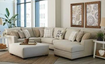 Large Modular Sectional Sofa With Oversized Ottoman. Orientation and configuration variable.