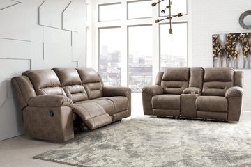 Reclining Living Room Furniture Sofa and Loveseat Set in Mocha.