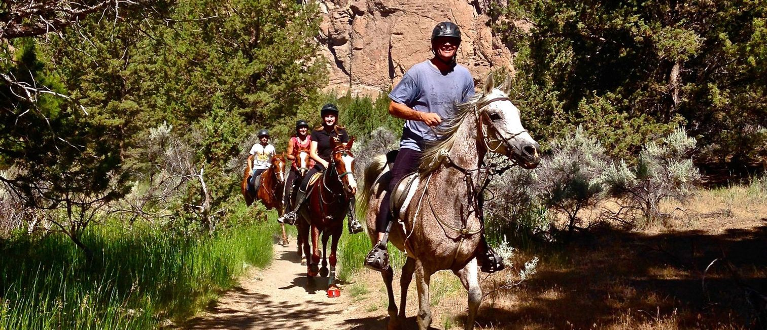 Group of riders on the Smith Rock Trail.