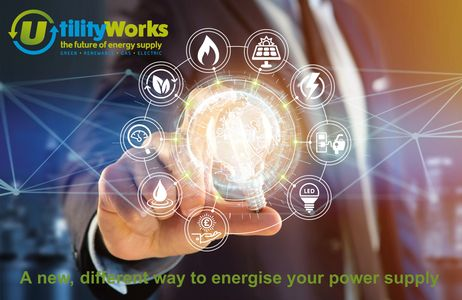 UTILITY WORKS LOGO DESCRIBING OFFERING RENEWABLE PRODUCTS AND SERVICES