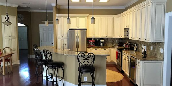 Beautiful Bayshore Kitchen located In Tampa Florida. showcases  Cream maple glazed cabinets.