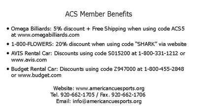 ACS Membership includes discounts at the sponsor sites!