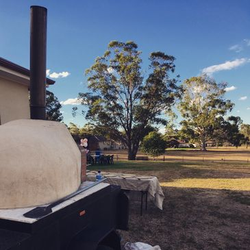 Wood-fired oven on wheels hired for a private birthday party celebration in Sydney area