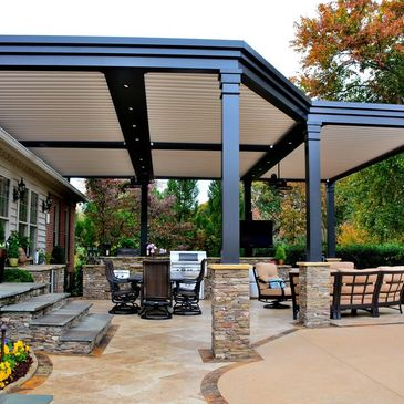 Motorized Pergola, Louvered Roof, Patio Cover, Adjustable Pergola, Automated Shade Structure
