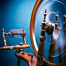 Spinning wheel in motion. Photography by Patti Hayes