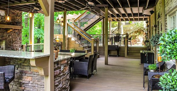 Outdoor Addition with outdoor kitchen and two story deck.