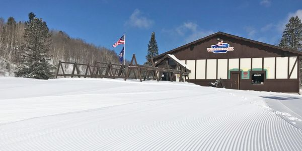 Groomed snow for skiing at Minocqua Winter Park