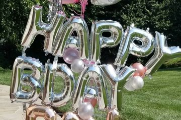 "Variety of  10 Helium balloons Latex & Foil with Foil ""Happy Birthday"" at base."