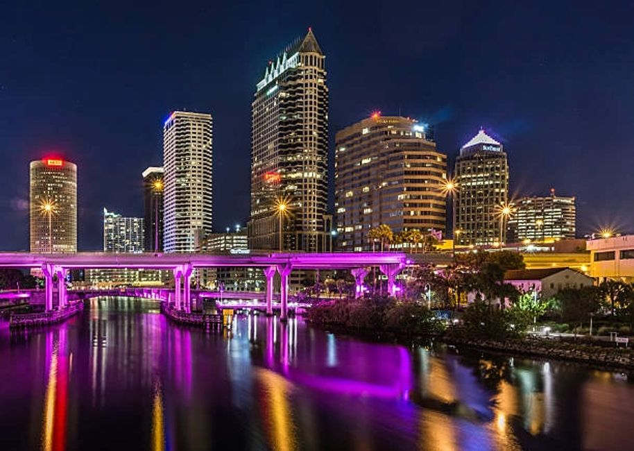 Downtown Tampa skyline at night