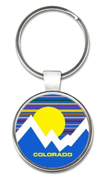 Striped Sky Mtns Round Key Ring