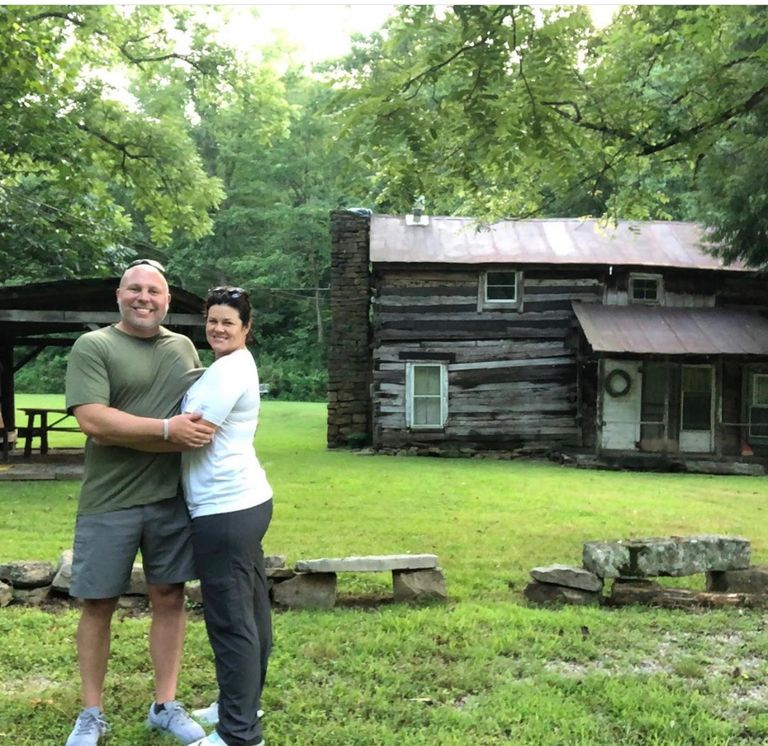 Rocco and Lauren Besednjak, on the first day of owning the property now known as Camp Hero.