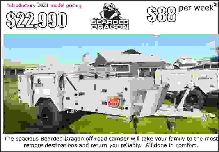 BDagon camper trailer on special