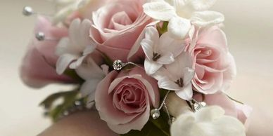 pink and white flowers corsage